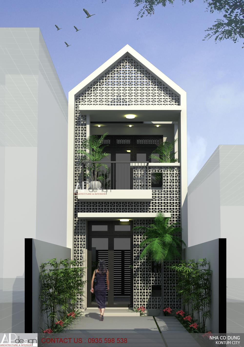 Thiết kế nhà phố cô Dung - TP.Kon Tum