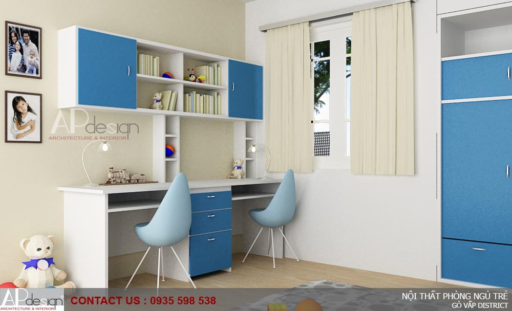 Thiết kế nội thất phòng ngủ trẻ - 2 Tông màu