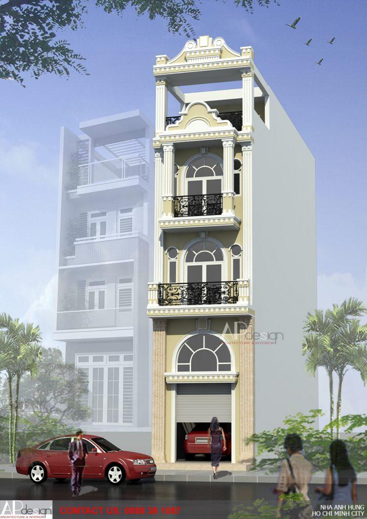phối cảnh thiết kế nhà phố cổ điển 4x15m