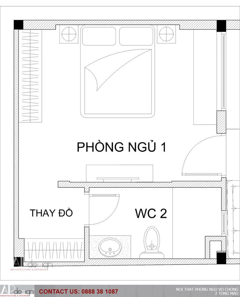 bản vẽ thiết kế phòng ngủ vợ chồng