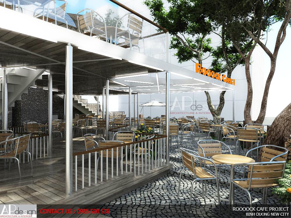 thiết kế quán cafe khung kèo thép