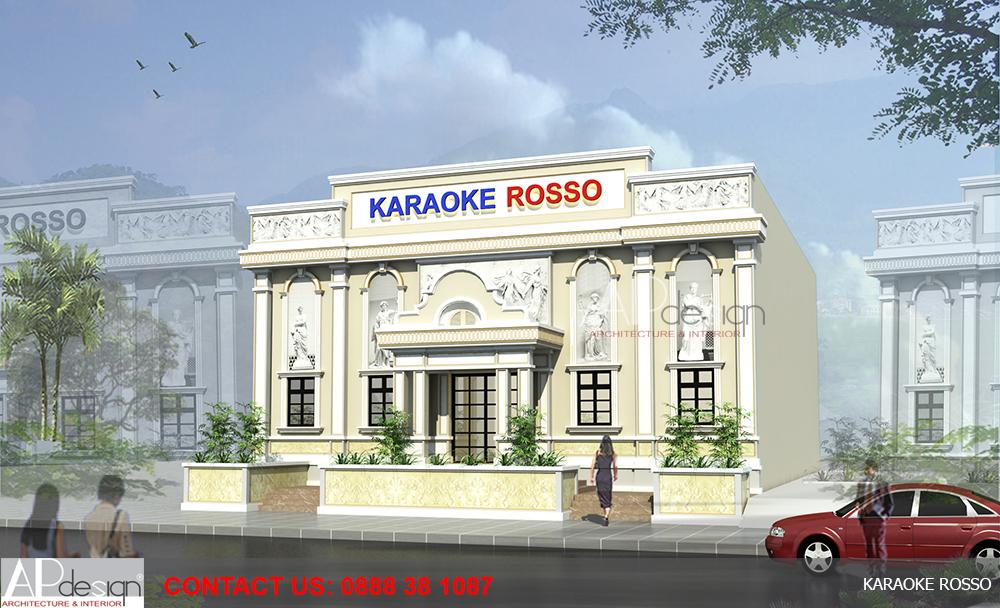 thiết kế mặt tiền quán karaoke