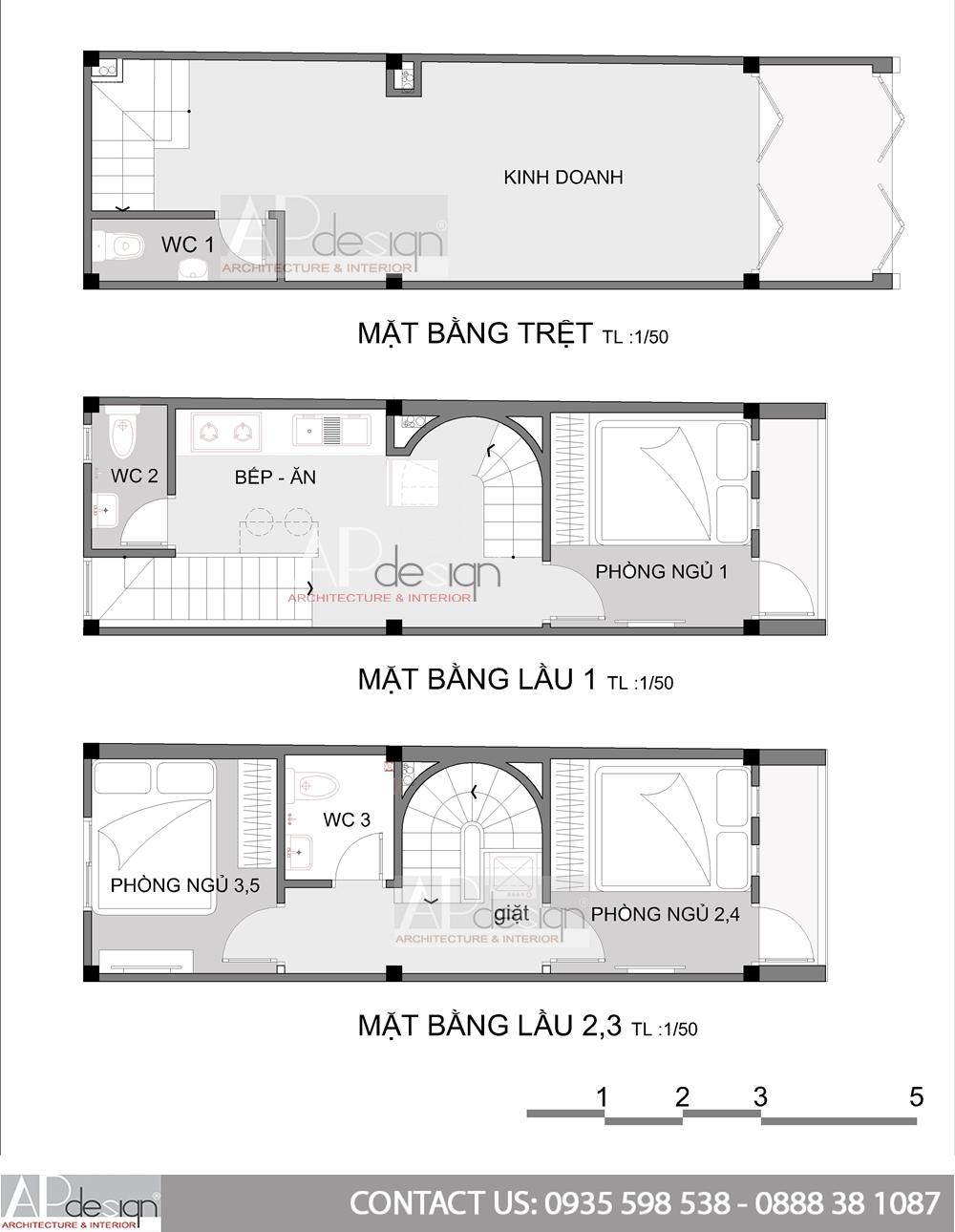 Thiết kế nhà phố 3x9m