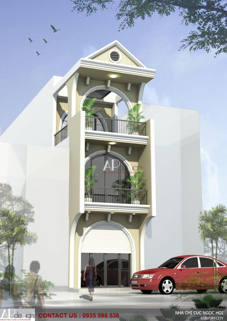 Thiết kế nhà phố tân cổ điển chị Cúc - Ngọc Hồi.Kon Tum