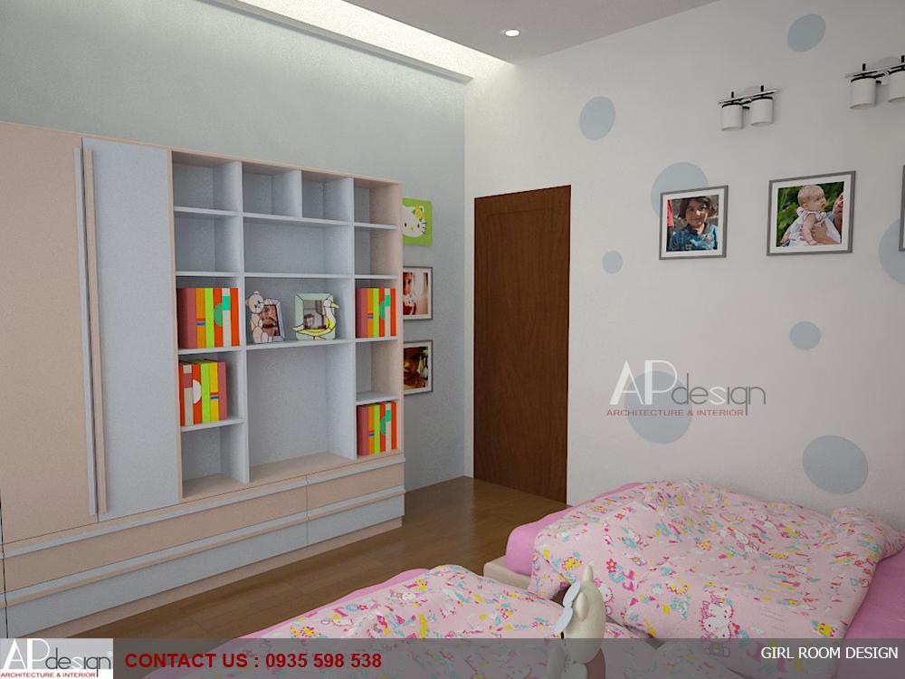 Thiết kế nội thất phòng ngủ con gái