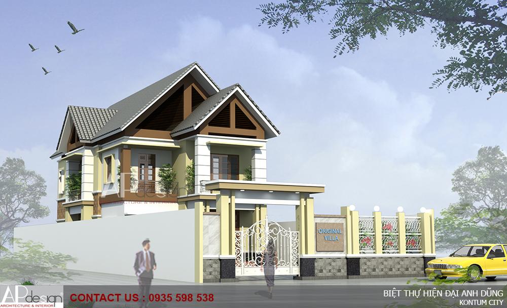 Thiết kế biệt thự hiện đại mái ngói Anh Dũng - TP.Kon Tum