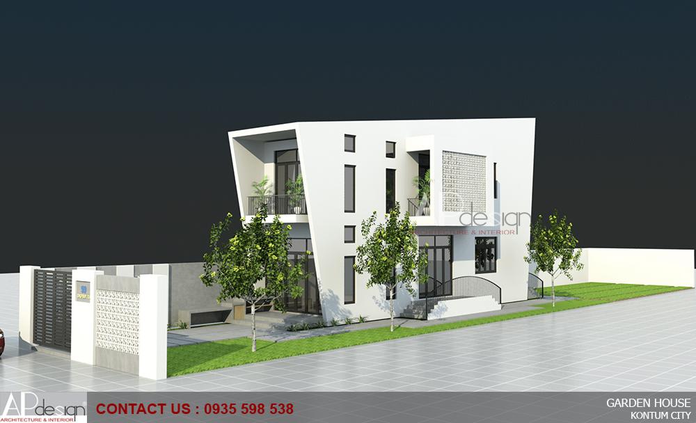 Thiết kế biệt thự vườn 2 tầng 4x15 phong cách hiện đại - Kon Tum