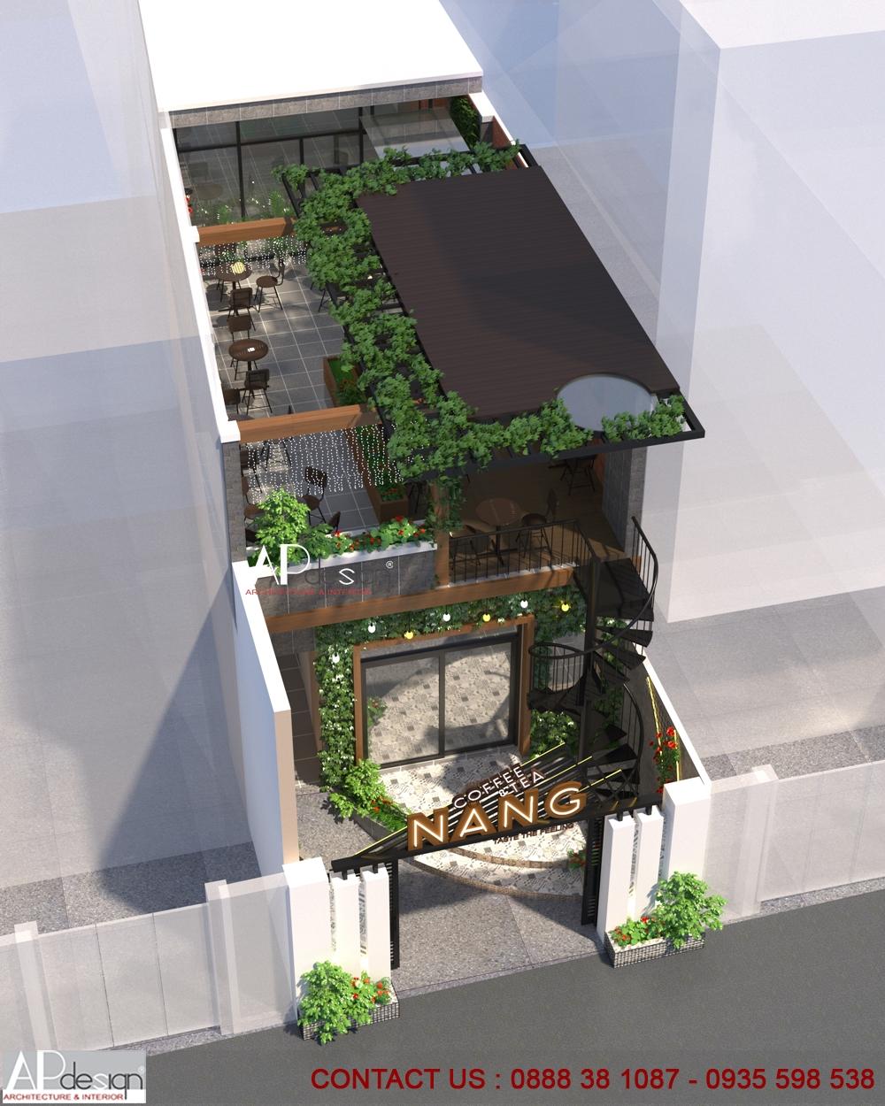 Thiết kế quán cafe ngang 5m