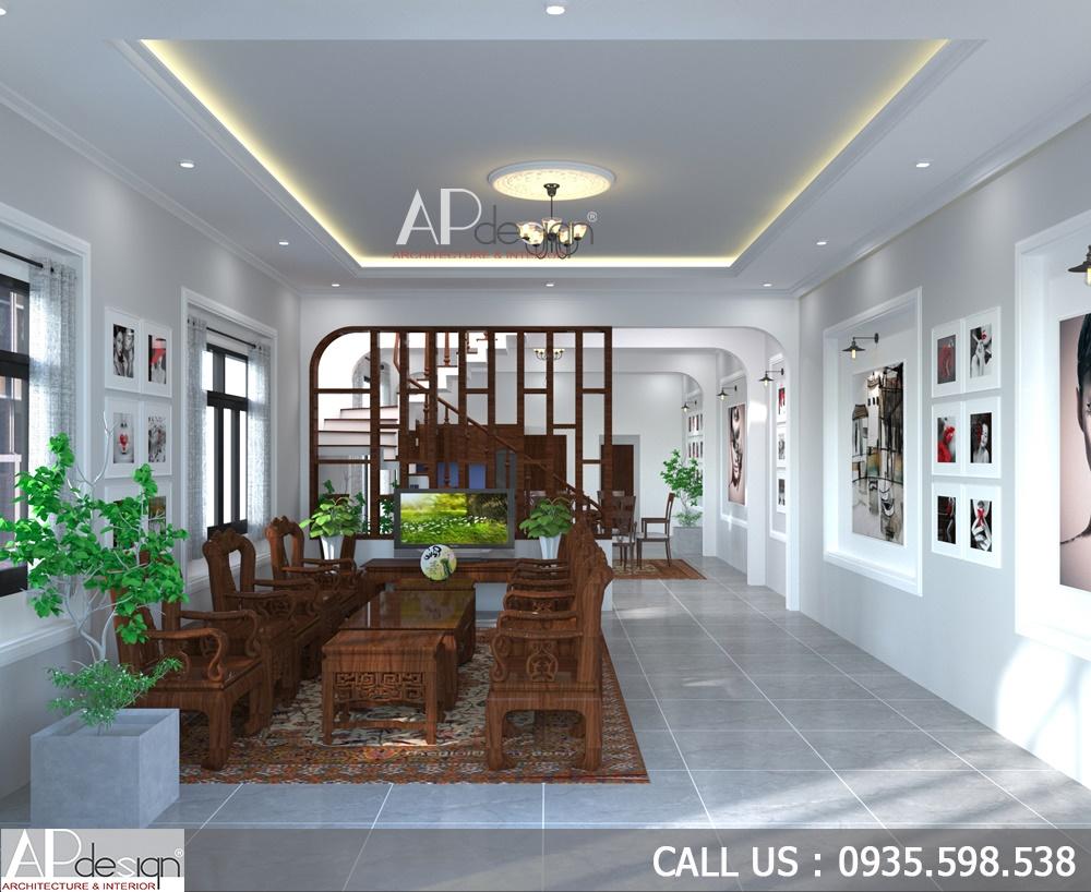 nội thất phòng khách thiết kế biệt thự 6m