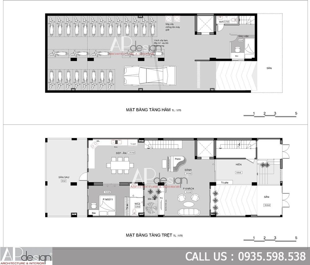 Mặt bằng Thiết kế chung cư mini cho thuê