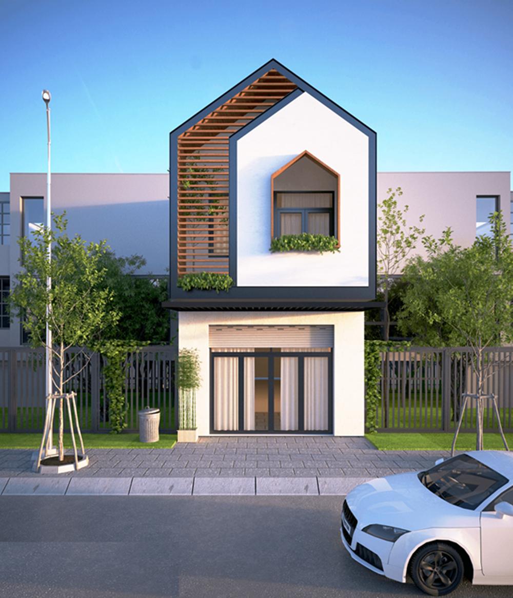 Thiết kế nhà đẹp 2 tầng mặt tiền 5m