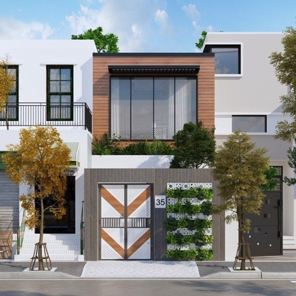 Thiết kế nhà phố 2 tầng mặt tiền 5m