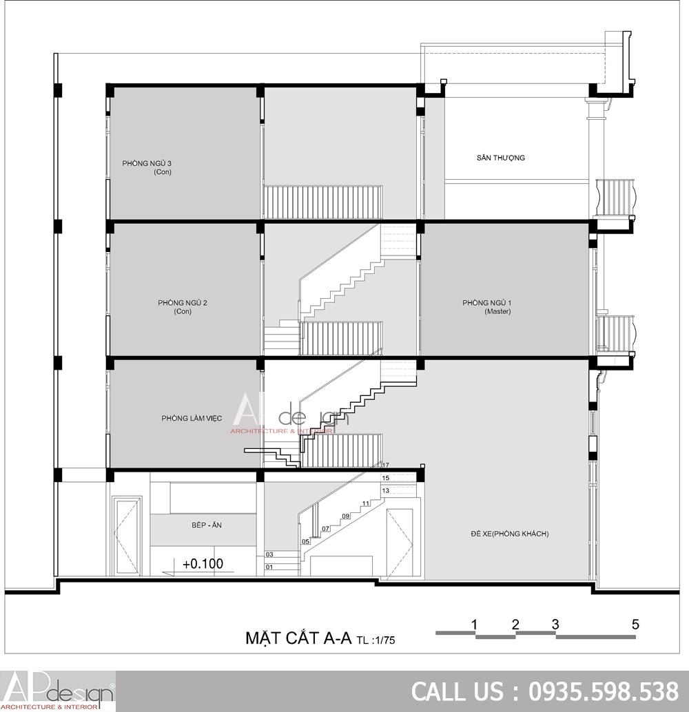Mặt cắt Nội thất nhà phố 5x14m