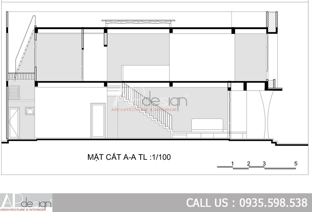 Mặt cắt Thiết kế nhà phố 5x15m 2 tầng